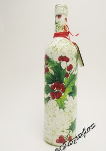 decoupage Christmas bottle 1