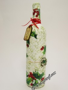 decoupage Christmas bottle 2
